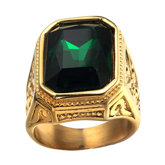 8f5a999b94d0 Anillo De Bodas Cuadrado chapado en Oro con Piedra Grande Rojo Verde Azul