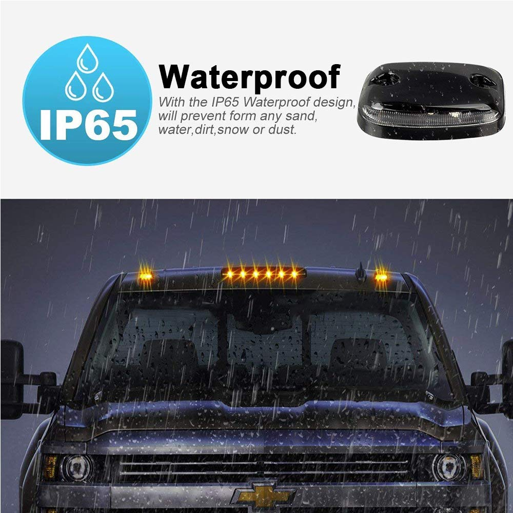 Clear Lens Cab Marker Lights Amber 12 LED Roof Top Running Clearance Lights with Wiring Harness Pack for 2007-2013 Chevy Silverado /& GMC Sierra 1500//2500// 2500 HD// 3500//3500 HD 2014 2500 HD// 3500