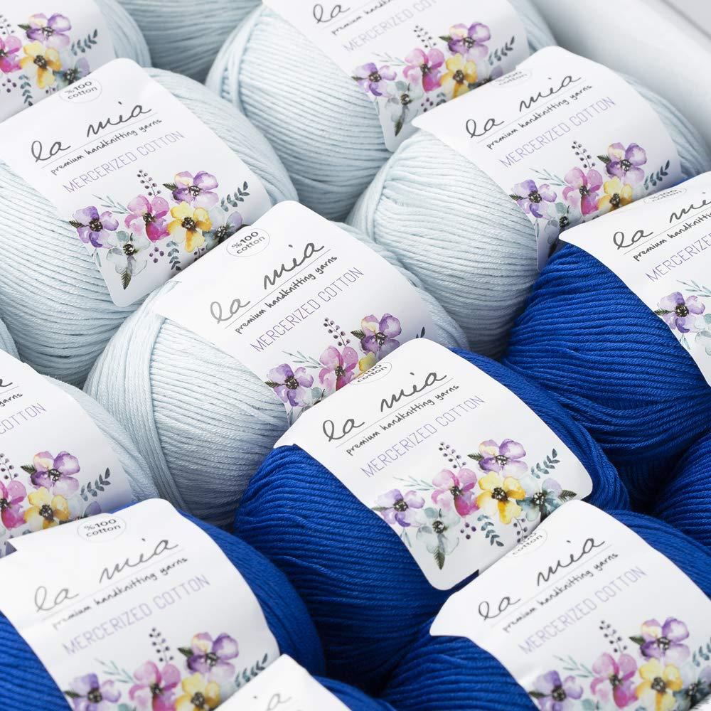 La Mia Mercerized Cotton Gift Set - 18 Skeins of Assorted Colors La Mia Mercerized Cotton Yarn, Each Ball 1.76 Oz (50g) / 135 Yrds (147m), Soft, 3 : Light-Dk (Sapphire) by La Mia (Image #3)