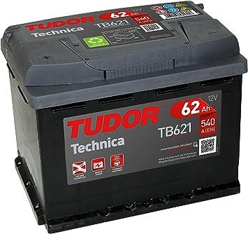 Batería para coche Tudor Exide Technica 62Ah, 12V. Dimensiones: 242 x 175 x 190. Borne izquierda.
