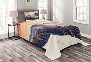 Ambesonne Nature Bedspread, Evening Winter Landscape with Dramatic Surreal Overcast Sky and Majestic Mountains, Decorative Quilted 2 Piece Coverlet Set with Pillow Sham, Twin Size, Blue Grey