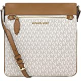 Michael Kors Connie Large Signature Top Zip Bright White Leather/Pvc Cross Body Bag