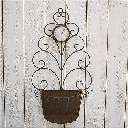 MeiMei American Retro Paint Rust Color Jardín Decoración Jardín Pared Pared Decoración de Pared Hierro Forjado Soporte de Flores Adornos: Amazon.es: Hogar