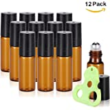Olilia 5ml Glass Essential Oils Roller Bottles with Stainless Steel Ball 12 Pack, Essential Oils Key included
