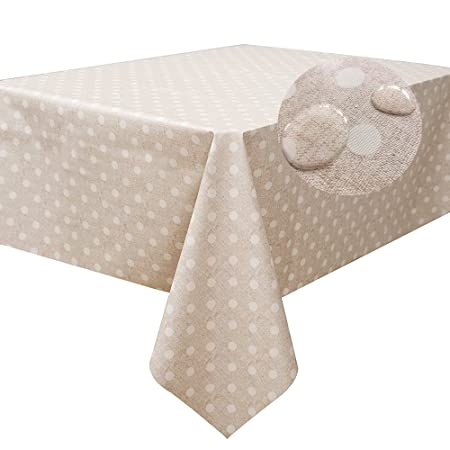 Fancy Fix Table Cloth Polka Dot Pattern Beige Wipe Clean Oilcloth Vinyl  Tablecloths 137 X