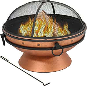 Sunnydaze Large Copper Finish Outdoor Fire Pit Bowl - Round Wood Burning Patio Firebowl with Portable Handles and Spark Screen - 30 Inch