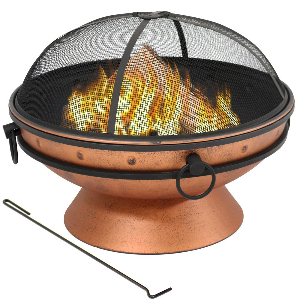 Sunnydaze Large Copper Finish Outdoor Fire Pit Bowl – Round Wood Burning Patio Firebowl with Portable Handles and Spark Screen – 30 Inch