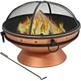Sunnydaze Large Copper Finish Outdoor Fire Pit Bowl - Round Wood Burning Patio Firebowl with Portable Handles and Spark Scree