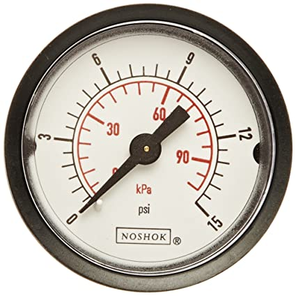 +//-2.5/% Accuracy NOSHOK 100 Series ABS Dual Scale Dial Indicating Pressure Gauge with Back Mount 25-110-6000-psi//kPa 0-6000 psi Pressure Range 2-1//2 Dial Inc 2-1//2 Dial