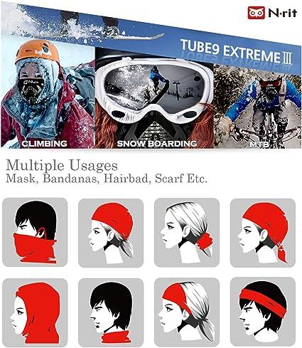 N-rit TUBE9 EXTREME3 Winter Neck Gaiter Warmer Reversible Ear Loop Face Cover for Men/&Women