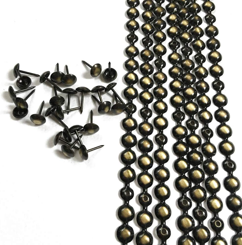Let's Decorate 10 Meters D9.5mm Bronze Plated Decorative Nail Strips/Nailhead Trims,Upholstery Sofa Tacks,Loosing Tacks Matched (C:9.5mm Bronze)