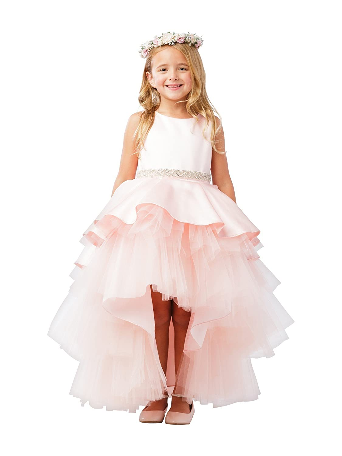 e049c3cd5 Tip Top Kids Big Girls Blush Satin Overlay Rhinestone Hi-Low Junior  Bridesmaid Dress 8-14 - Pink - 14: Amazon.co.uk: Clothing