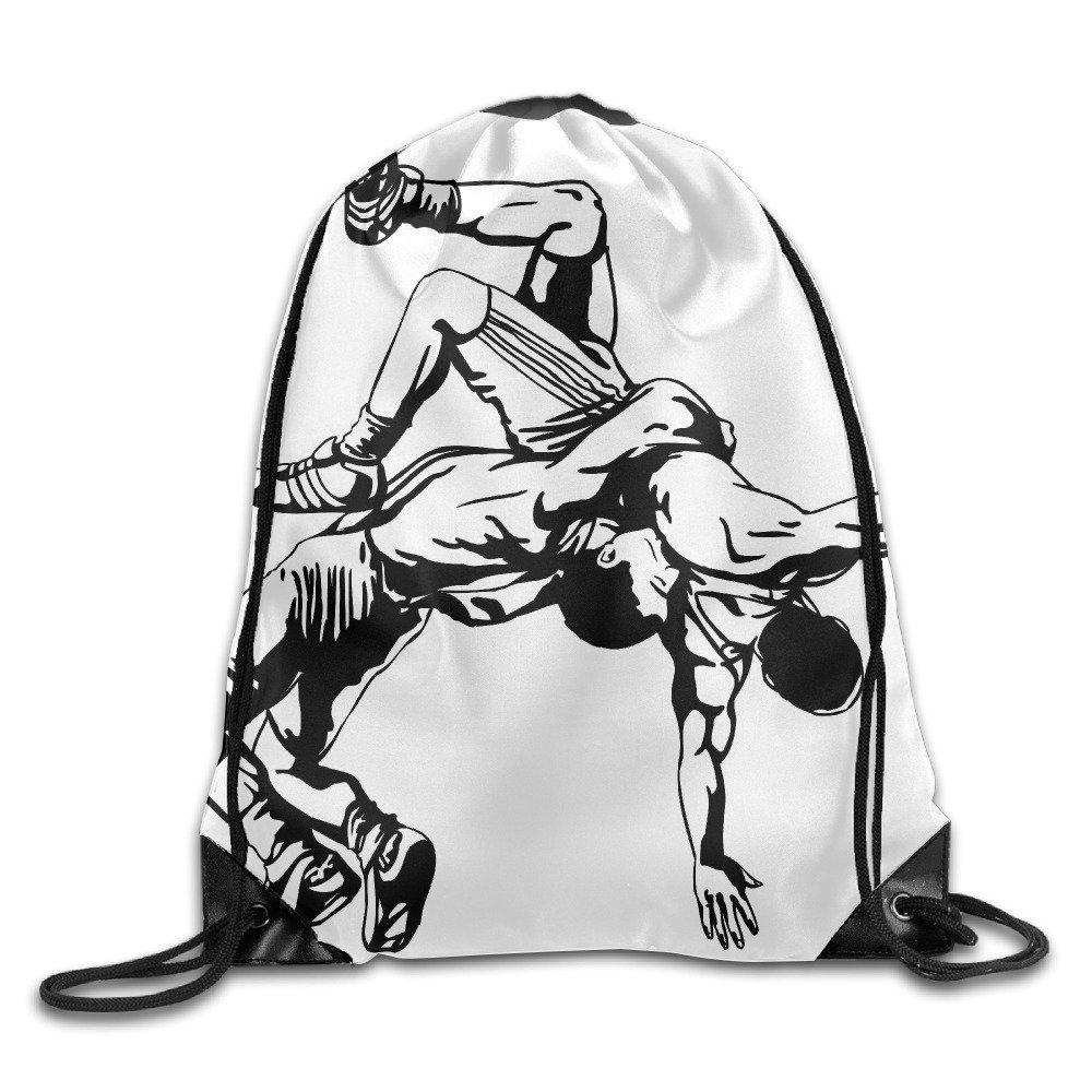 Unisex Amateur Wrestling Large Water Resistant String Beach Holidays Teamsport Formation Tote Storage Gymsack Gym Drawstring Bags Sackpack Use