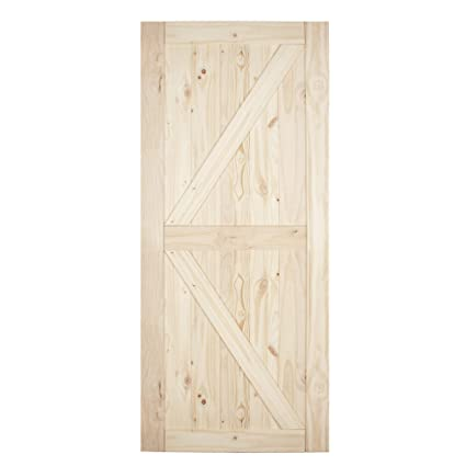Belleze 36in X 84in Sliding Barn Wood Door Unfinished Knotty Pine Single Door Only Pre Drilled 3 Ft X 7 Ft Interior Natural