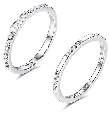 675da91dc FUNRUN JEWELRY 2 PCS Sterling Silver Cubic Zirconia Thin Ring Set for Women  Girls Cute CZ
