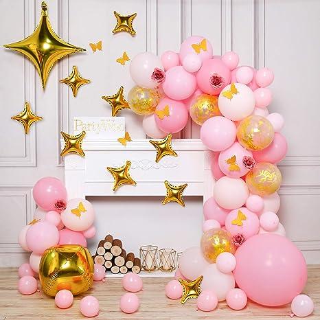 Gold Metallic and 4 44 pcs Light Pink Balloons PartyWoo Gold and Pink Balloons