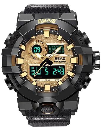 Reloj Digital Hombre Deportivo Lujo Digital Watch Analogico MultifuncióN De Hombre Impermeable Con Despertador, Calendario