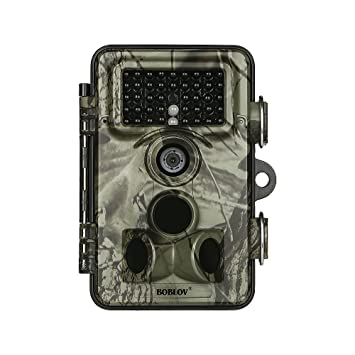 Boblov Cámara de Caza Vigilancia 16MP 1920x1080P 30fps HD 2.4 LCD Pantalla Trail Cámara con 42pcs IR LEDs Visión Nocturna Infrarroja IP66 ...