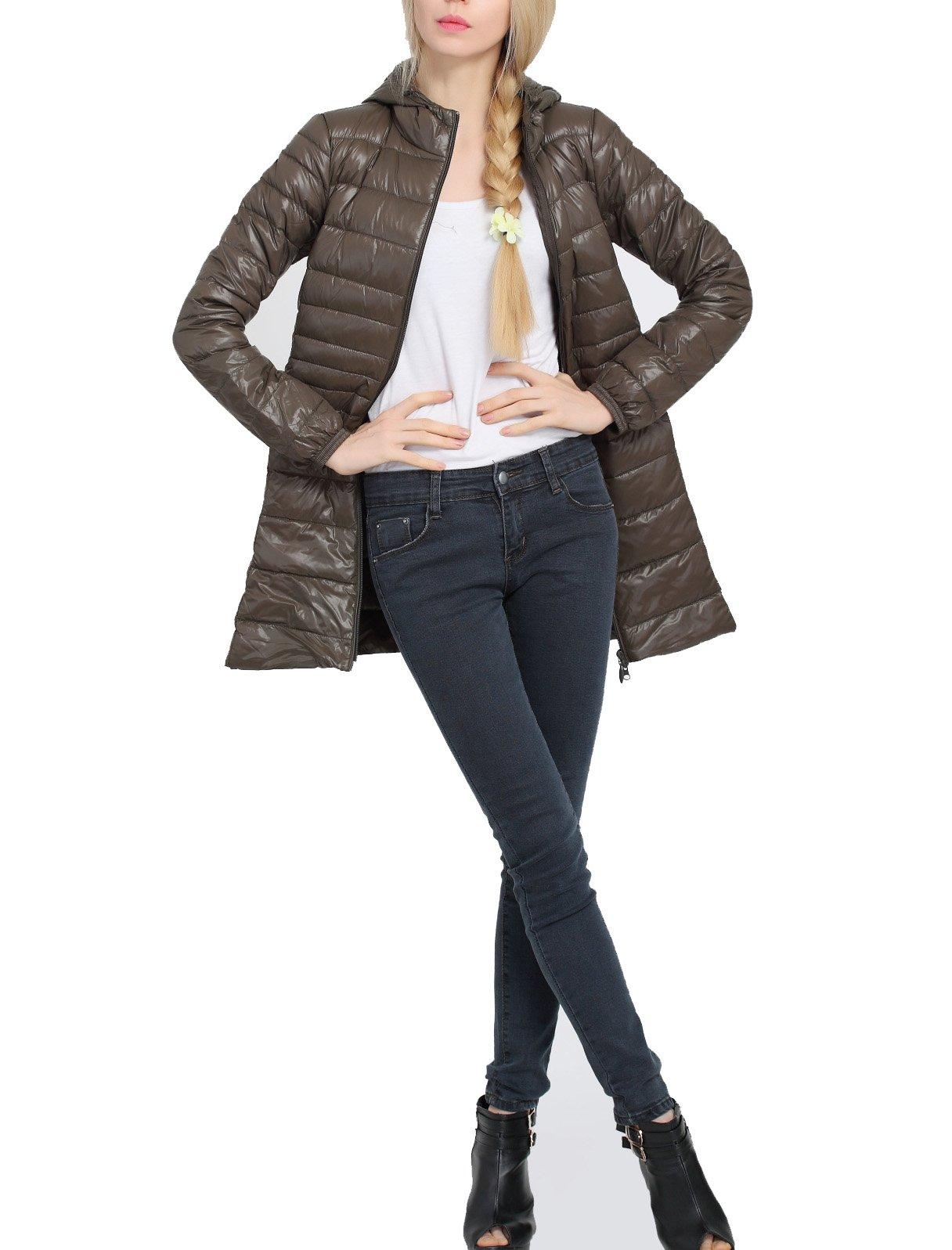 Wancy Women's Lightweight Puffer Coat Packable Long Hooded Down Jacket Outwear Plus Size Green Large