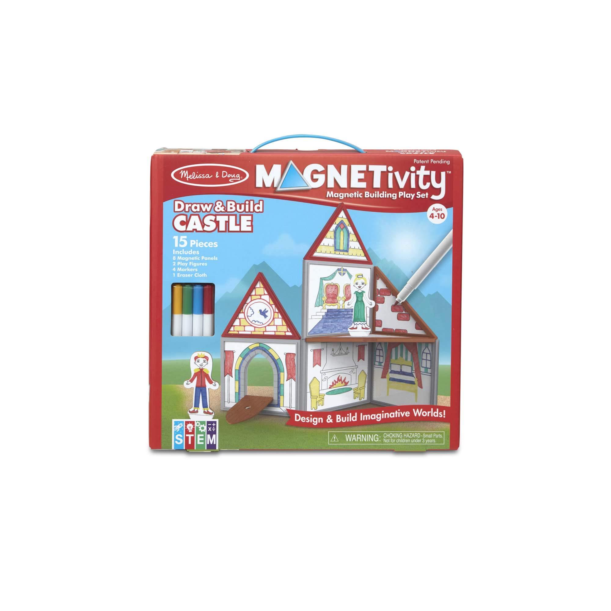Melissa & Doug 15-Piece MAGNETIVITY Magnetic Building Play Set - Draw & Build Castle (8 Panels, 4 Dry-Erase Markers)