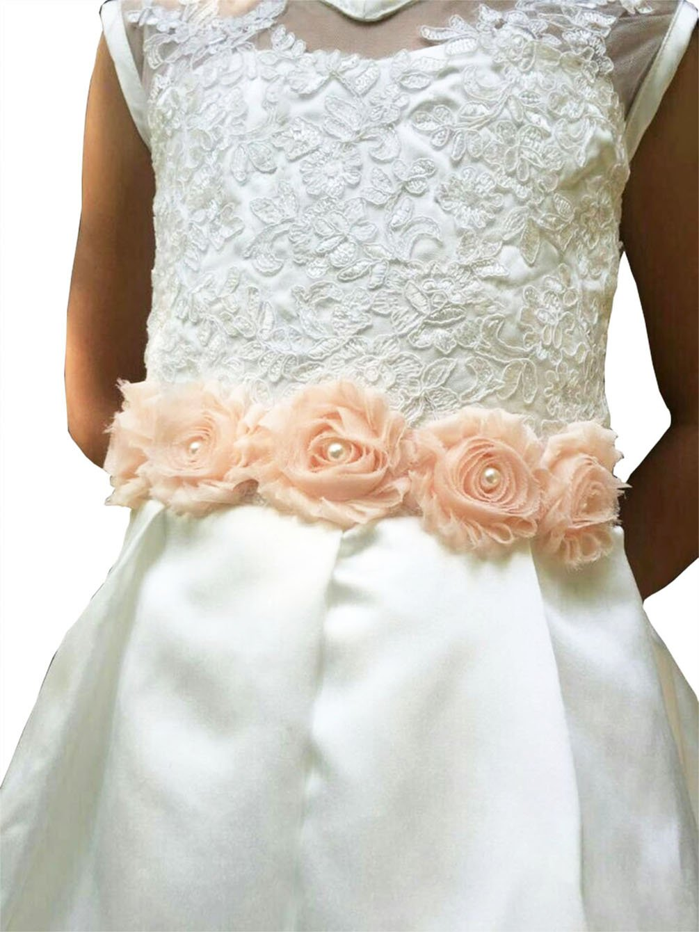 Lemandy Vintage Chiffon Flower and Pearls Flowergirls Sash for Pageant Prom Wedding in 10 Colors (Blush)