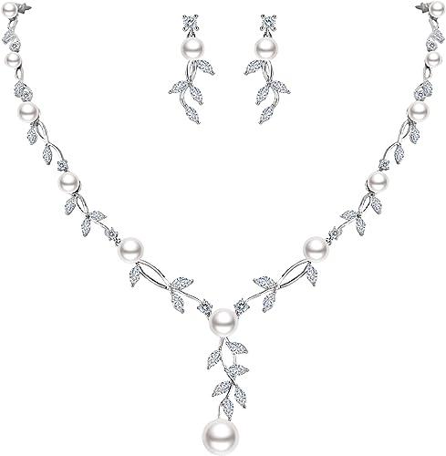 EVER FAITH Cristal Autrichien Perle Artificielle Mariage Style Vintage Collier+Boucles doreilles Parures Clair Ton dargent