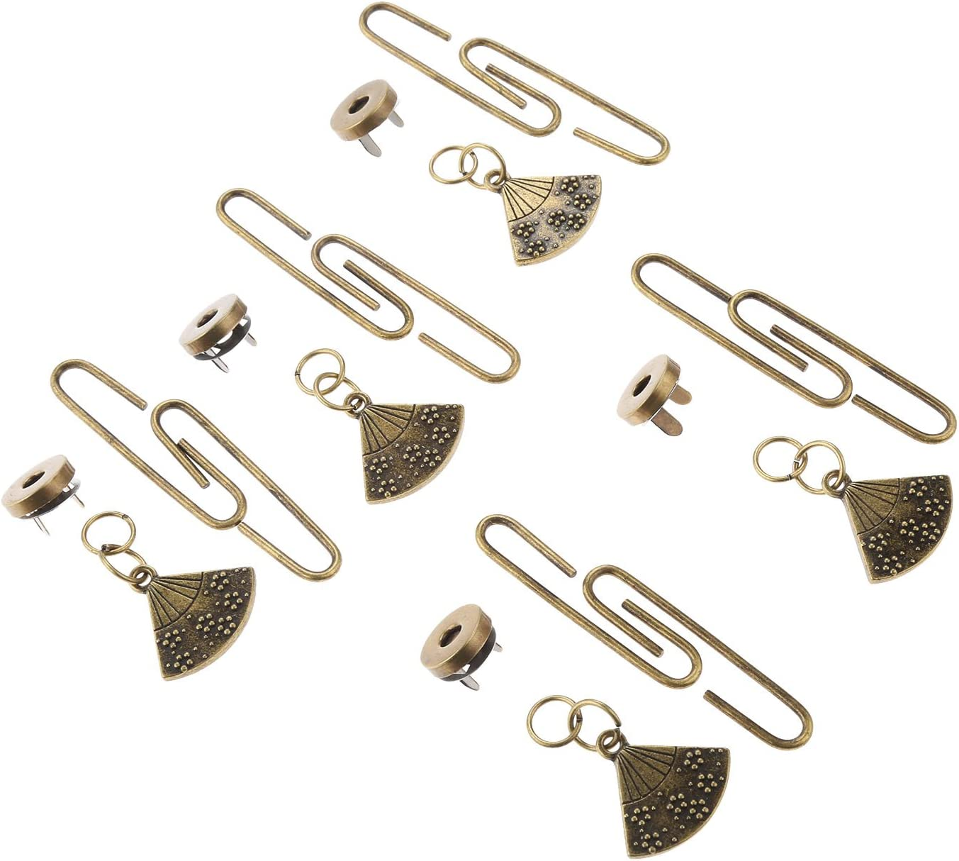 2inch Purse Clasps C-Shaped Frame Clutch Star Moon kiss Clasp Lock Magnetic Snap Buckle and Charms Pendants Craft Accessory Silver 5Pcs