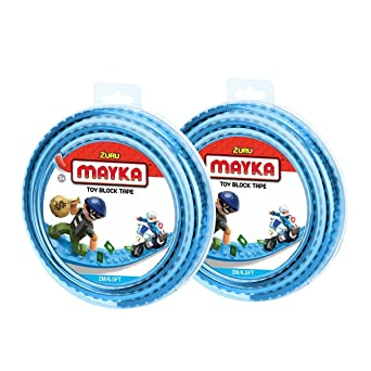Mayka Toy Block Tape - 2 Stud - Light Blue - 6 Feet - 2 Pack