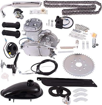 Goplus Motor de la Bicicleta Kit 80cc de 2 Tiempos de Bicicletas Gasolina motorizado Motor de Gas Bici del Motor Kit (Plata): Amazon.es: Coche y moto