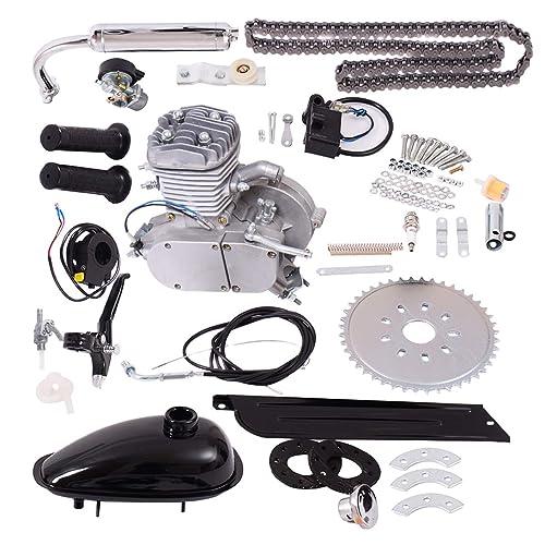 Goplus Bicycle Motor Kit Bike Gasoline Motorized Gas Engine Bike Motor Kit (Silver)