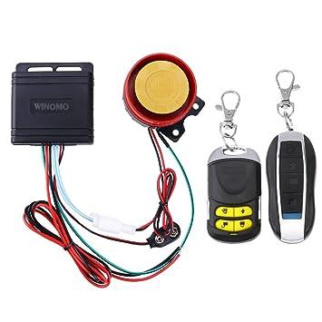 Winomo - Sistema de alarma antirrobo para moto, doble mando a distancia universal