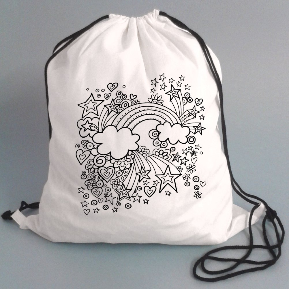 Drawstring P.E Bags For Kids To Colour In. Printed Outline - Kids Craft Rainbow Design- Fabric Pens sold separately Pink Pineapple