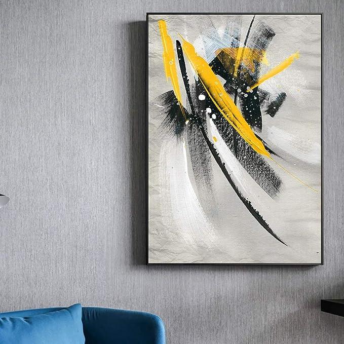 YuanMinglu Pluma Amarilla Abstracta Pintura al óleo Impresión de la Lona Cartel y Grabado Graffiti Moderno Arte de la Pared Pintura sin Marco 60x90cm: Amazon.es: Hogar