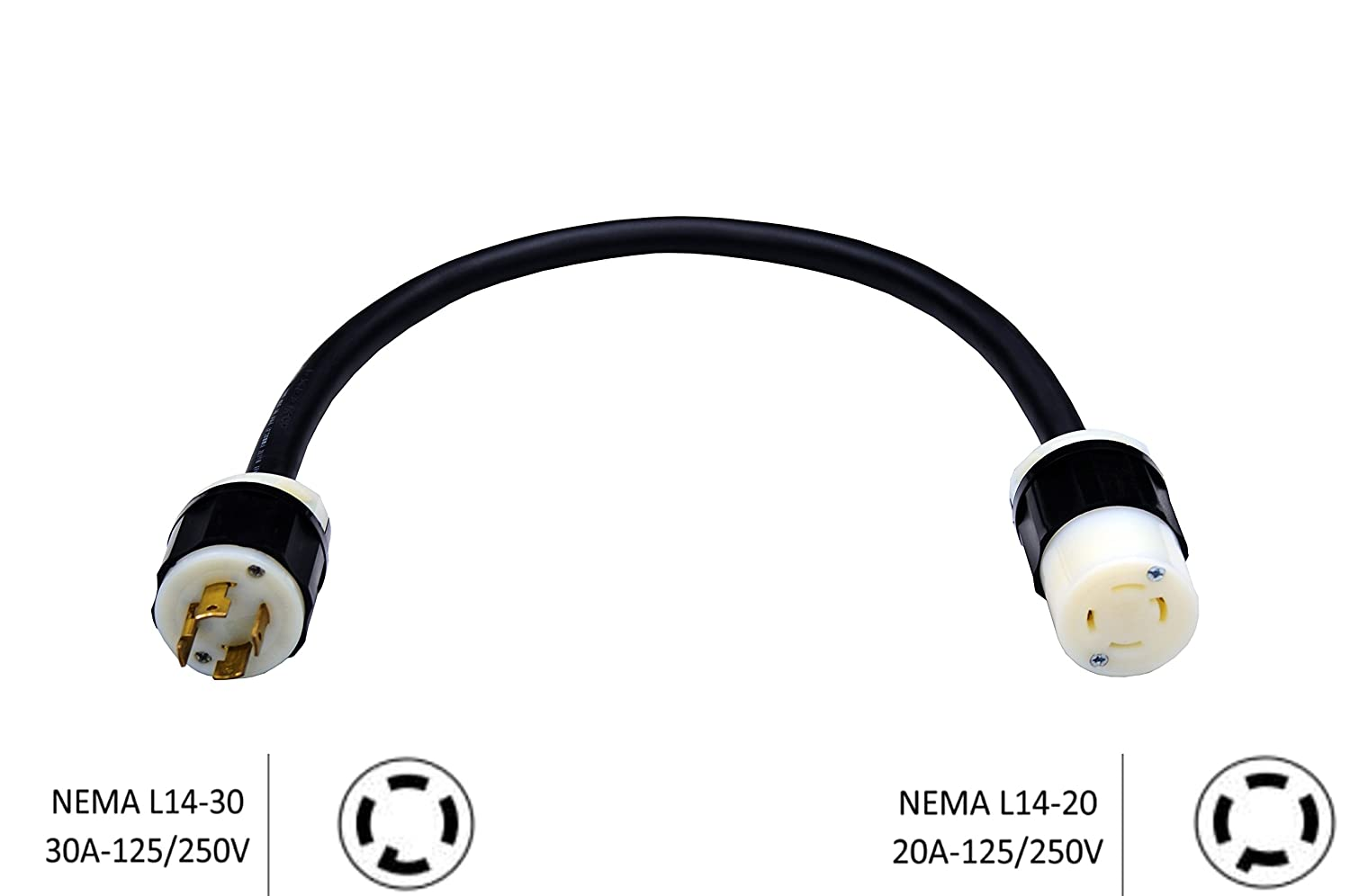 NEMA L14-30P to NEMA L14-20R Adapter - 30A 125/250V to 20A 125/250V, 10 AWG Heavy Duty Industrial Cable, CC-L1430P-L1420R (25 Ft.) Cords & Components