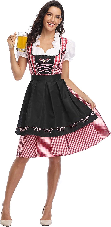 Women German Dirndl Dress Costumes for Bavarian Oktoberfest Halloween Carnival Costumes