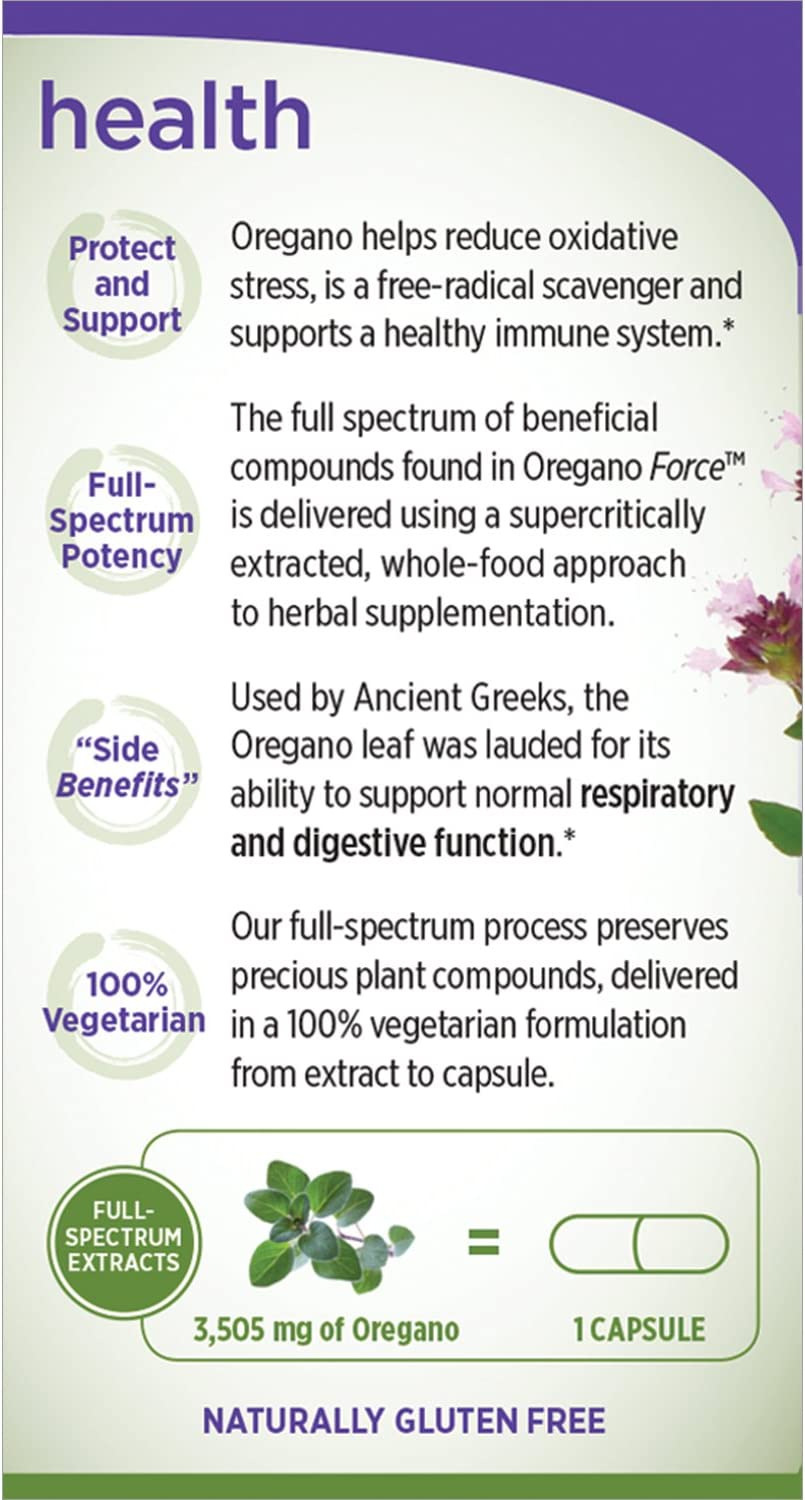 New Chapter Oregano Force for Immune Support with Supercritical Organic Oregano + Non-GMO Ingredients - 30 ct Vegetarian Capsules: Health & Personal Care