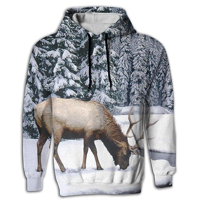 b899134b66db Amazon.com  Drinking Elk Men 3D Pullover Long Sleeve Hoodies Tops  Clothing