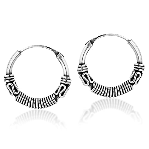 ac7cfb967 Image Unavailable. Image not available for. Color: Balinese Interlace Tribal  Delicate Sterling Silver Hoop Earrings