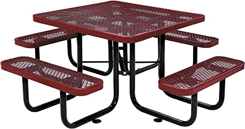 46 Square Expanded Metal Picnic Table, Red
