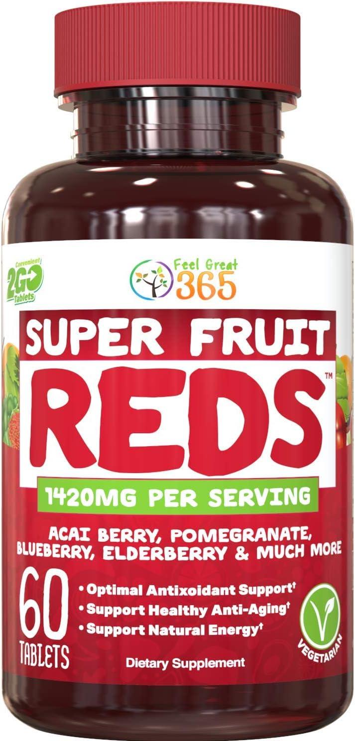 SuperFruit Reds Antioxidant Supplement (30 Day Supply) | Powerful Vital Superfood Anti-Aging* Antioxidant Blend | Acai Berry, Goji Berry, Noni, Mangosteen, Pomegranate, Blueberry, Trans Resveratrol