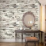 "HaokHome 91301 Modern Faux Brick Stone Textured Wallpaper Roll Beige/Grey Multi Brick Blocks Home Room Decoration 20.8"" x 33ft"