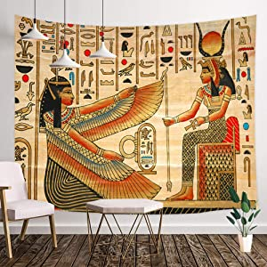 NYMB Ancient Egypt Queen Tapestry, Egyptian King and Hieroglyphic Carvings on Papyrus Wall Tapestry, Egyptian Psychedelic Mural Decor Tapestry Wall Hanging for Bedroom Living Room Dorm, 71X60IN