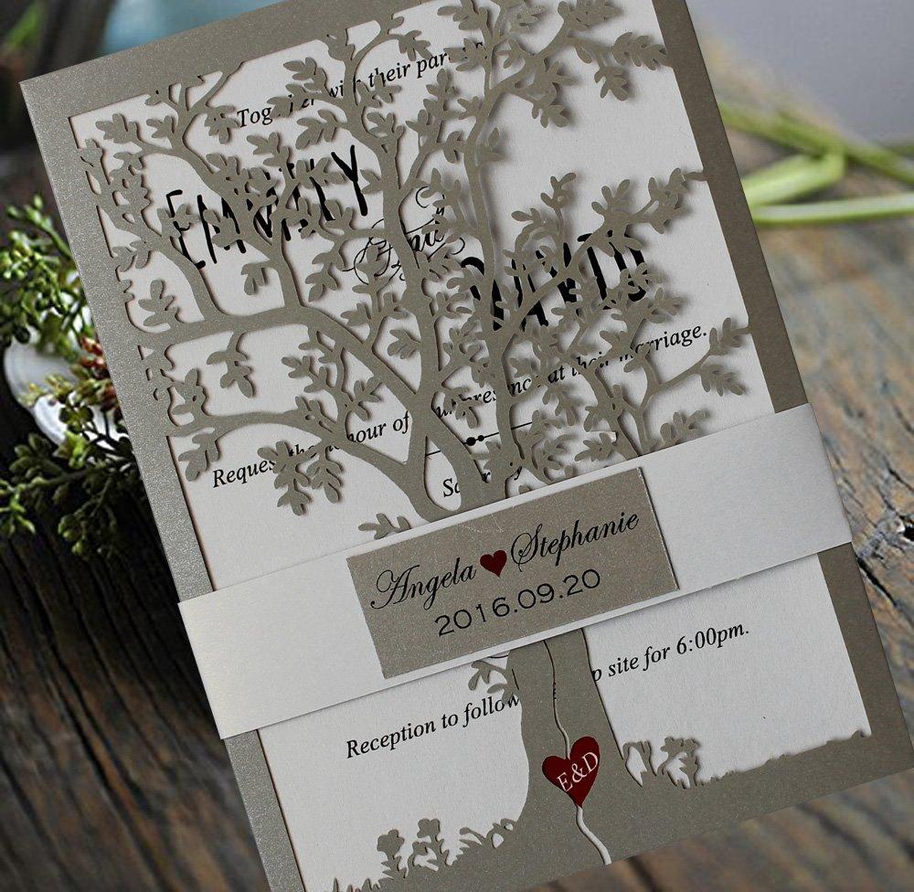 Loving Tree Wedding Invitations, Bridal Shower Invitation Cards, Printable Silver Wedding Invitation Card - Set of 50
