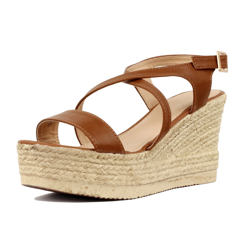 187f22c8c6e Women's Espadrille Platform Wedge Sandal Crisscross Strappy Slingback Dress  Summer Shoes