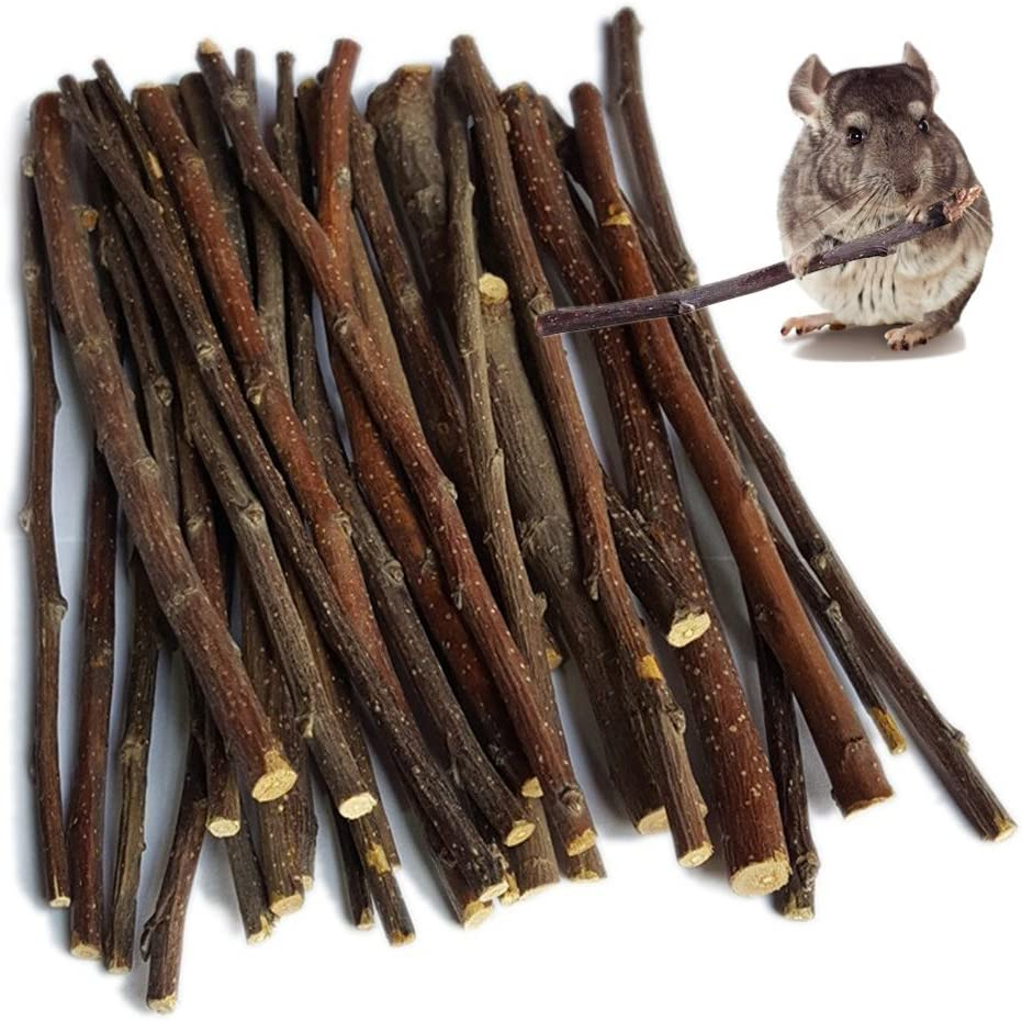 Hypeety 200g (7oz) Pet Snacks Apple Wood Sticks Chew Toys for Bunny Rabbits Guinea Pigs Chinchilla Squirrel Hamster