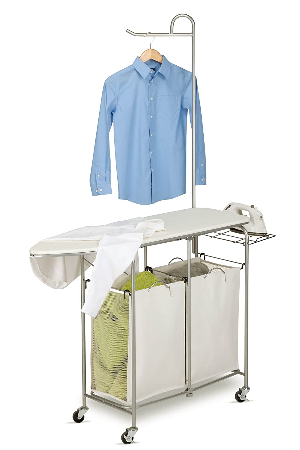 Amazon.com: Honey Can Do Rolling Laundry Sorter With Ironing Board And  Shirt Hanger: Home U0026 Kitchen