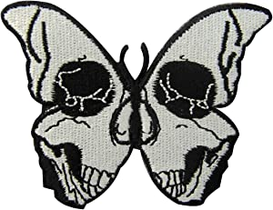 The Skull Butterfly Embroidered Badge Iron On Sew On Patch