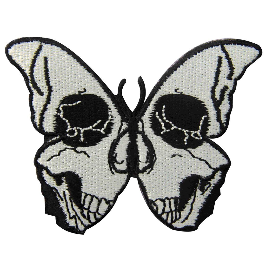 The Skull Butterfly Embroidered Badge Iron On Sew On Patch ZEGIN