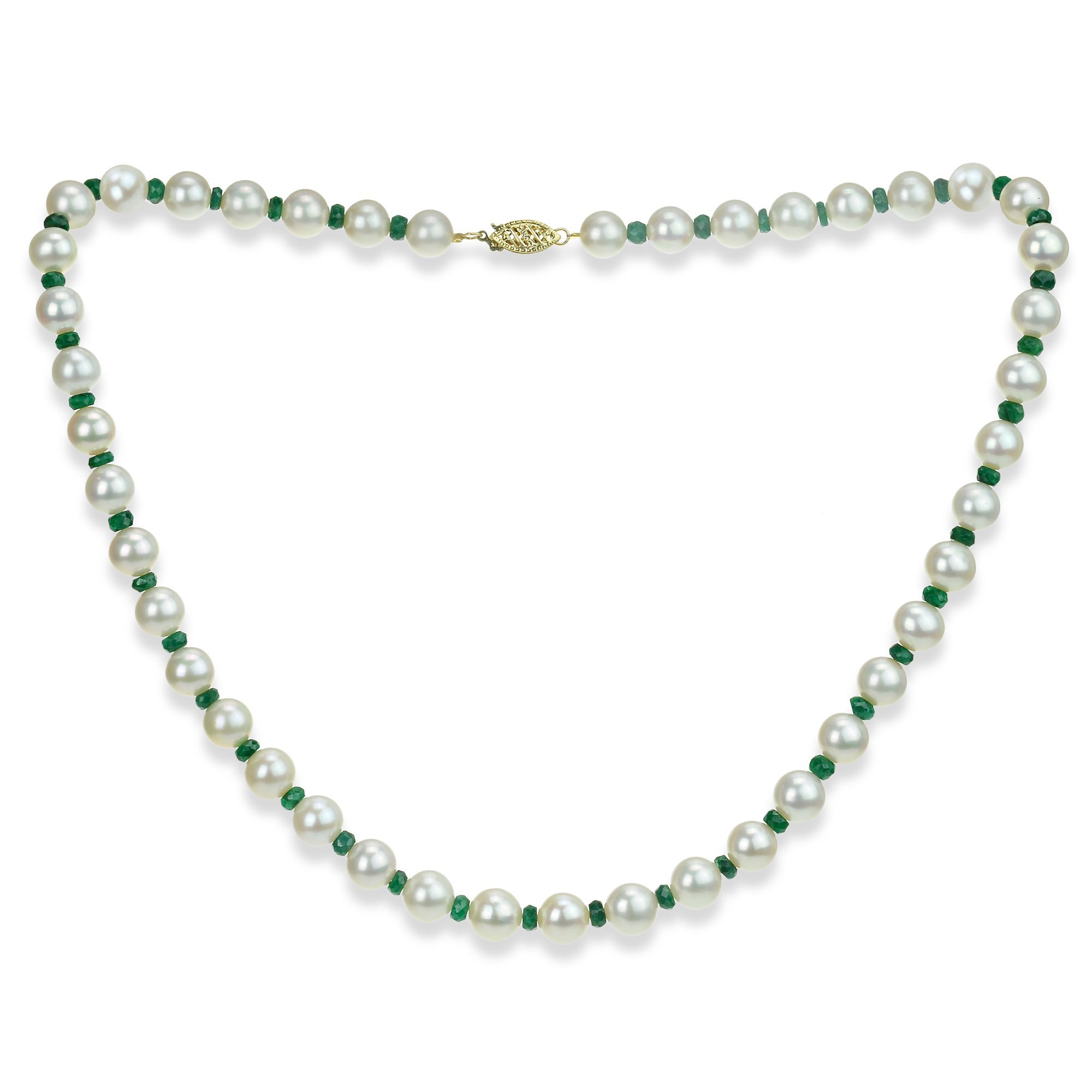 Emerald Green Gemstone Necklace Freshwater Cultured White Pearl Necklace 14K Yellow Gold Wedding Jewelry by La Regis Jewelry