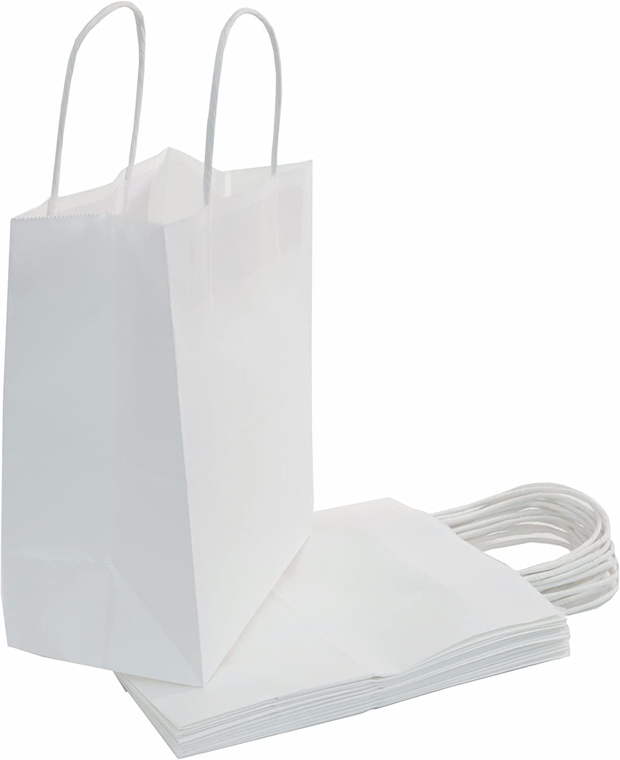 "100 | 50 | 25 Count - Size (8""x4.75""x10"") Bulk White Paper Bags with Handles - Perfect Solution for Baby Shower, Birthday Parties, Gifts, Restaurant takeouts, Shopping, Retail"